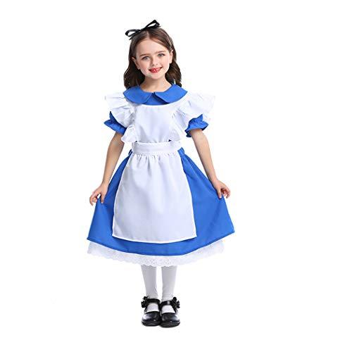 Jeff-chy Halloween Prinses Jurk Prestaties Kleding Donkerblauw Meisjes Kostuum Alice in Wonderland Maid Kostuum Set