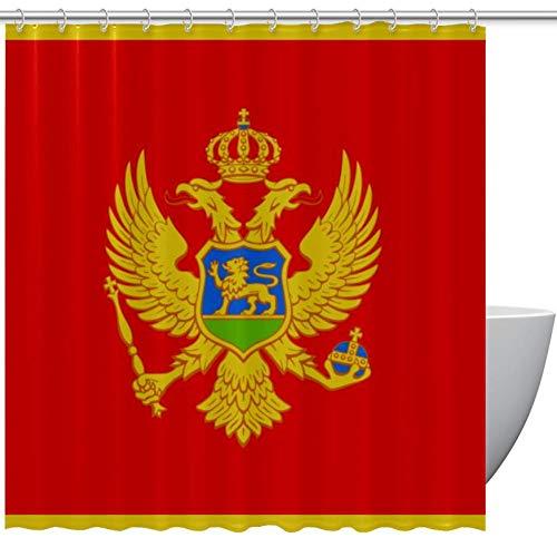 Bennigiry Montenegro Flagge Polyester Stoff Duschvorhang 152,4 x 182,9 cm, Schimmelpilz antibakteriell geruchlos wasserdicht Badezimmer dekorativer Badvorhang, Polyester, mehrfarbig, 66x72in