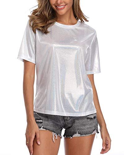 Damen Glitzer Oberteile Wetlook Rundhals Kurzarm T-Shirt Sexy Metallic Bluse
