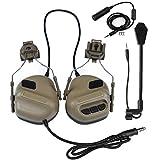 SGOYH Airsoft Paintball Actividades de caza de casco de riel lateral de auriculares tácticos impermeables con micrófono y auriculares funcionales PTT, DE.