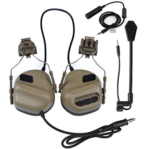 WISEONUS Airsoft Paintball Jagdaktivitäten Helm Seitenschiene Kopfhörer Wasserdichtes Taktisches Headset mit Mikrofon Funktionskopfhörer und PTT