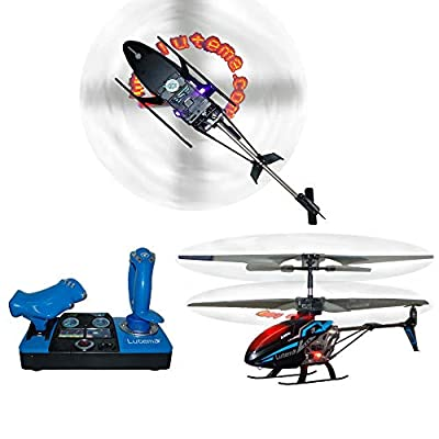Lutema 2.4GHz Heligram Flight Simulator Remote Control Helicopter with LED SkyText Technology, Blue by MI Technologies, Inc.