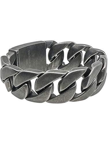 RUGGED steel Herren Edelstahl Armband XXL Panzerarmband Vintage-Look (Schwarz-Silber)
