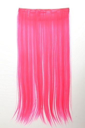 WIG ME UP ® - YZF-3177-TF2315 Haarteil Extension breite Haarverlängerung 5 Clips glatt Pink Neonpink