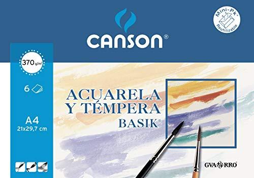 Canson Minipack A4, 6 Hojas, Guarro Acuarela Basik 370 g, Blanco