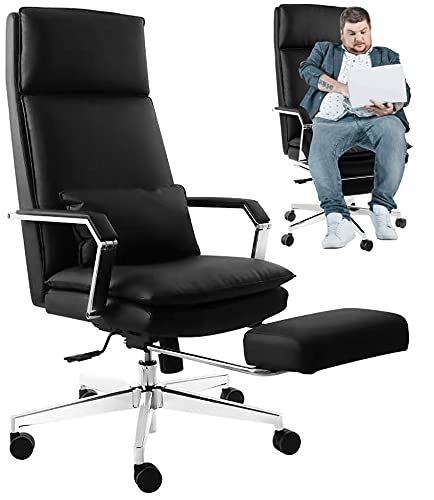 Office Chair Black, Ergonomic Big Tall Men Comfortable Footrest Desk Chair, Video Gaming Chair, Rolling Computer Swivel Chair Back Support, Leather Video Game Chairs with Lumbar Support Pillow