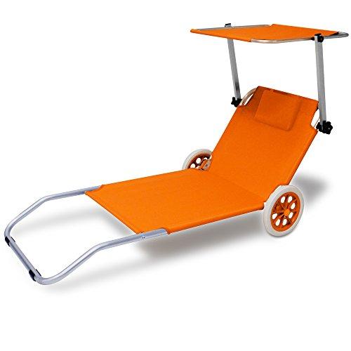 Deuba Alu Strandliege Kreta mit Dach klappbar 2 Räder Sonnenliege Gartenliege Strandrolli Liege Farbauswahl orange