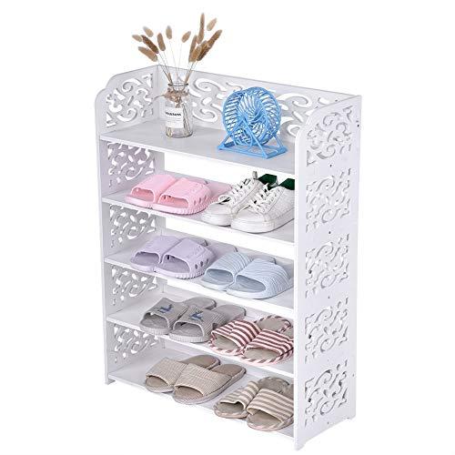 AYNEFY Armario de almacenamiento de zapatos, organizador de zapatos de 5 niveles, organizador de zapatos, soporte de almacenamiento de zapatos, organizador para ahorrar espacio