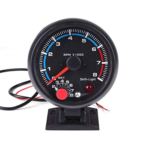 N\A Tachometer RPM Gauge,3.75 Inch Universal 7 Color Backlight with 0-8000 RPM,for 4 6 8 Cylinder with Adjustable Shift Light
