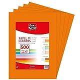 Fixo Paper 65009152. Paquete de 500 Hojas de 80 Gramos, Naranja Intenso, A3
