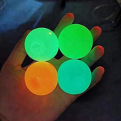 FOHYLOY 4 Pcs Globbles pegajosos, Bola para aliviar el estrés, 4 Colores Juguetes de Descompresión, Bolas Fluorescentes Stickytarget, Juguete Antiestrés de Bola para Adultos y Niños (65mm) de FOHYLOY
