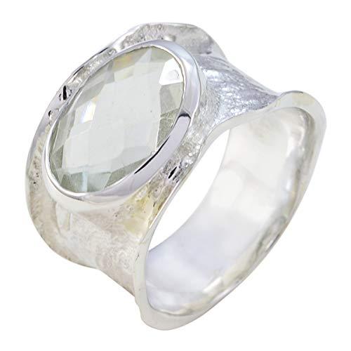 joyas plata buenas piedras preciosas forma ovalada una piedra cheker anillo de amatista verde - anillo de amatista verde de plata esterlina - nacimiento de marzo piscis