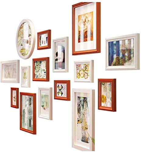 Houten frame voor foto's van hout, set van 15 stuks, in mashup-stijl, grote afbeeldingen, foto-wandafbeeldingen, combinatie van ladder, deco, L160 x H84 cm