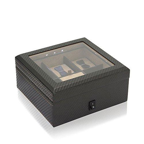 Friedrich23 Uhrenkoffer – Uhrenkasten Carbon Dunkelbraun – Platz für 5 Uhren – Glasdeckel, integrierte LED, abschließbar