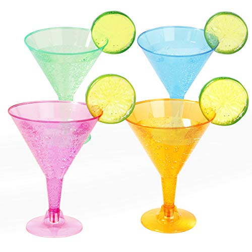 Supernal 72 pcs Plastic Martini Glasses,7oz Plasitc Dessert Cups, Colors Plastic Cocktail Glasses, Neon Cocktail Cups Great for Appetizers,Plastic Glasses Perfect for Wedding and Party
