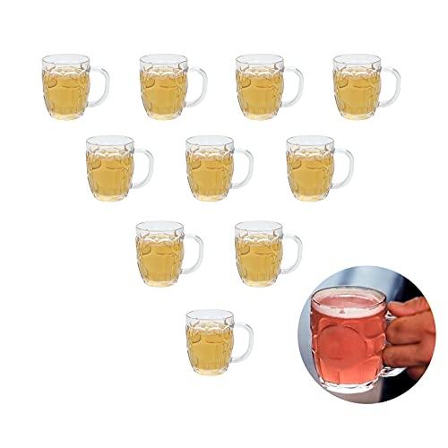 Mini Plastic Beer Mugs, 8oz Clear Dimple Stein Beer Mug Suitable for Children/Kids, Dishwasher-Safe, BPA Free (10 Pcs)