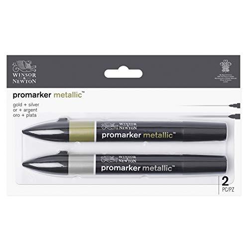 Winsor & Newton Promarker Metallic - 1 pennarello color Oro + 1 pennarello color Argento