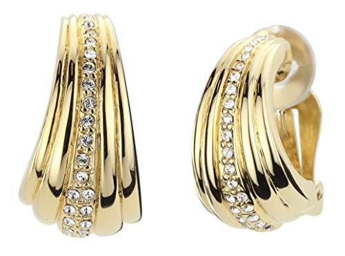 Traveller 157310 - Orecchini a clip, placcati oro 22 carati, con cristalli Swarovski