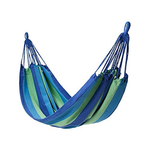 HUANXI Ligero Doble Cama Portatil con Bolsa De Almacenamiento + Cuerda De Amarre,300kg de Capacidad de Carga (200x100cm) Rayas Azules Columpio Jardin Exterior para Camping Mochilero Survival Travel