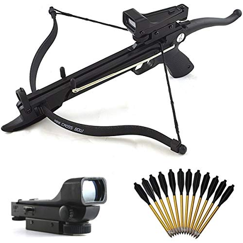 Destinie Mini 80 LB SELF Cocking Pistol Gun Crossbow + RED DOT Scope & 15 Aluminum Arrows