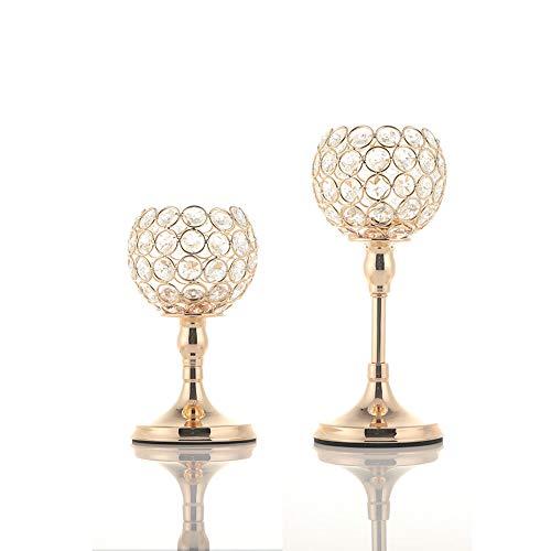 VINCIGANT Gold Kristall Kerzenhalter/Kerzenständer Gold 2er Set für Deko Wohnzimmer Hochzeit Tisch Mittelstücke Home Dekor,20cm&25cm Höhe