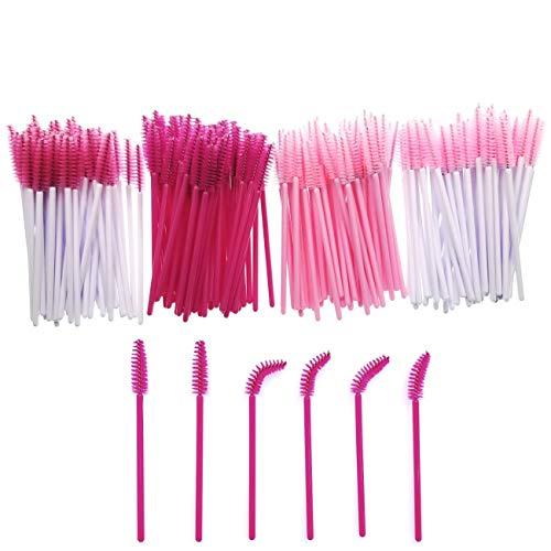JZK 200 Plastico desechable rosa rímel varillas aplicadoras cepillos de pestañas para extensiones varita ceja cepillo de cejas