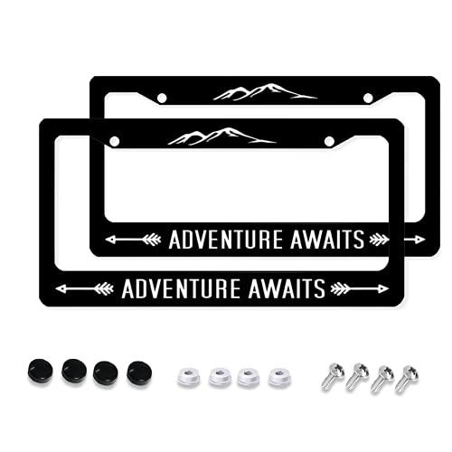 Aluminum License Plate Frame, 2Pcs 2 Holes Black License Plate Covers, Adventure Awaits Car Accessories for Men/Women