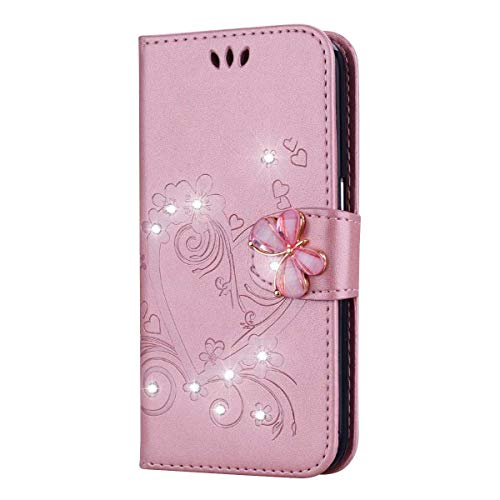 Bear Village® Schutzhülle kompatibel mit Huawei P9, Huawei P9 Premium Leder Brieftasche mit Standfunktion und Kartenfach, Flip Schutzhülle, Rose Gold