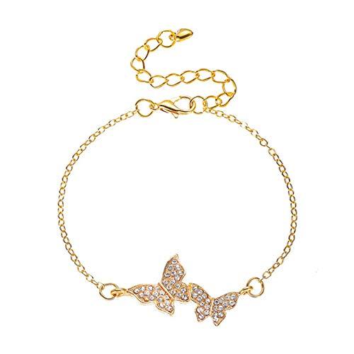 Huaji Pulsera de mariposa con diamantes llenos de color oro cadena moda pulsera regalos para mujer