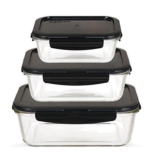 LOCK & LOCK Frischhaltedosen aus Glas mit Deckel, 3er Set eckig & groß - OVEN GLASS - Kühlschrank & Einfrieren - Auflaufform Backofen & Mikrowelle