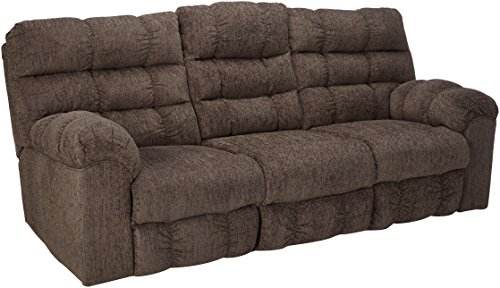 Signature Design by Ashley - Acieona Casual Upholstered Reclining Sofa with Drop Down Table - Pull Tab Reclining - Gray