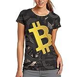Nueey Bit-Coin - Camiseta corta para mujer, color negro
