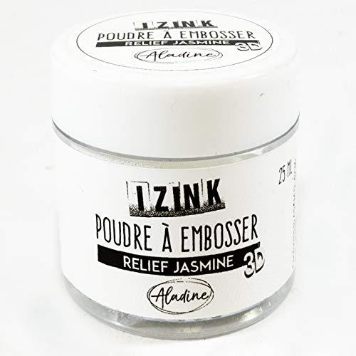 Aladine - Poudre à Embosser Izink Jasmine - Embossing - Effet Volume 3D pour Scrapbooking et Carterie Créative - Scrap en Relief Couleur Blanc - Pot de 25 ml
