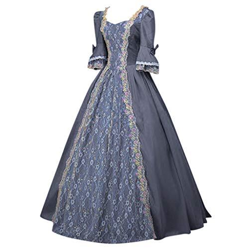BUKINIE Oversized Renaissance Mittelalter-Kostüm für Damen, mit Schnürung, irisches Kleid über lange Kleider, Cosplay, Retro-Kleid, S-5XL Gr. XXL, grau