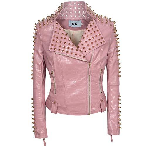 SX Women Punk Faux Leather PU Black Jacket Studded Rivet Fashion Streetwear Motorcycle Coat (3XL, Pink)