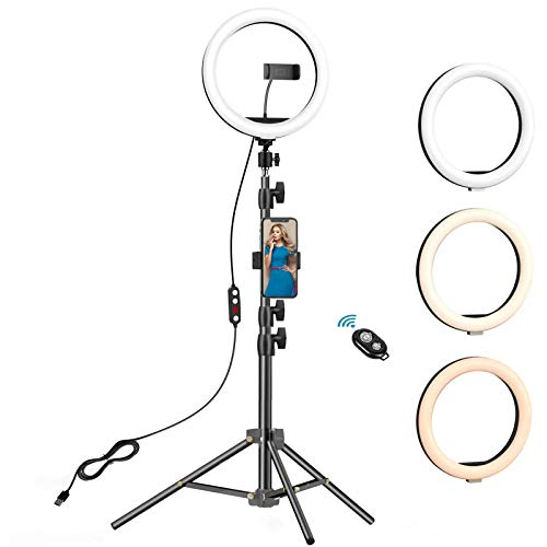 10.2 inch Selfie Ring Light with Tripod Stand & 2 Phone Holders,Anbes Dimmable Led Camera Ringlight...