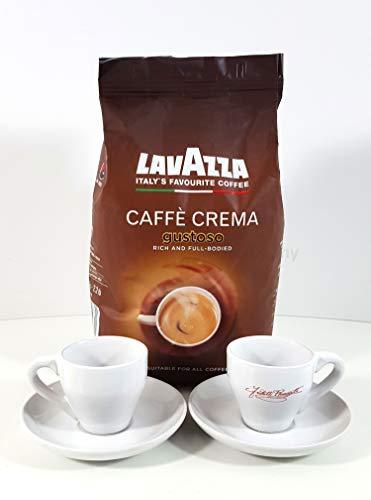 Lavazza Caffe Kaffee Bohnen gustoso + 2x Ramazzotti Espresso Gläser mit Untertasse