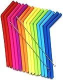 15 pajitas de silicona reutilizables para Yeti de 887 y 590ml, flexibles, fáciles de limpiar, con 2 cepillos de limpieza, sin BPA ni sabor a goma