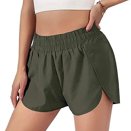 Pantalones cortos de yoga para mujer, de secado rápido, con movimiento de color sólido, elásticos, cintura media, para verano, informales verde S