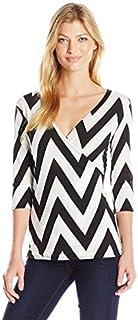 قميص Star Vixen نسائي بأكمام الكوع Surplice Bodice Fauxwrap Ity Knit Top مع رابطة جانبية قابلة للتعديل