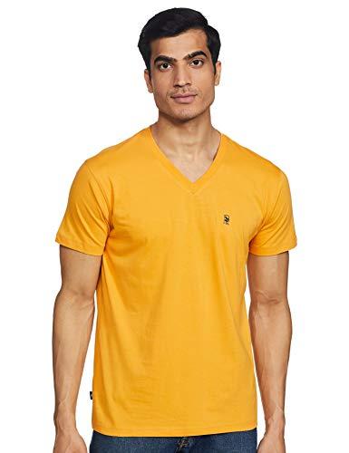 Woodland Men's Plain Regular fit T-Shirt (Pack of 5) (IWTSV 001BM_Burnt Gold XL)