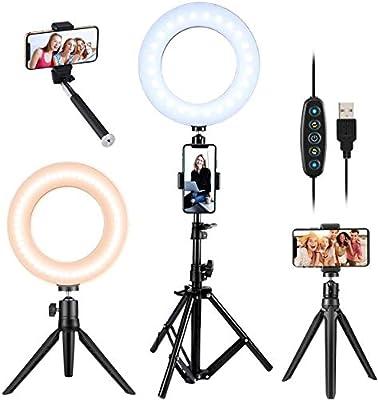 VicTsing Ring Light Kit with 5 Light Modes & 5 Brightness,3000K-6500K Dimmable LED Ring Light with Desktop Tripod/Tripod Stand/Selfie Stick,Video Light for TIK Tok Makeup Camera from VicTsing