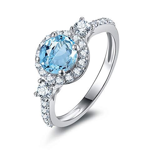 AnazoZ Anillos Mujer de Compromiso,Anillos Plata de Ley 925 Mujer Redondo 6.5MM Topacio Azul Blanco Anillo de Plata con Piedra Azul Talla 11