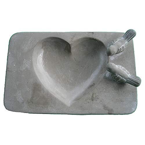 Cornbay Vogeltränke Keramik mit 2 Vögelchen Grau Rechteckig ca. 30 x 18 x 4 cm