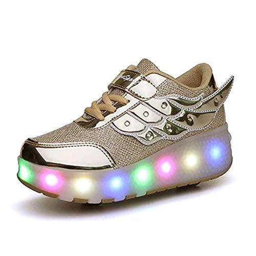 IDE Play Mädchen X2 Fitness-Schuhe, LED-Licht-Turnschuhe mit Doppel zweirädrige Jungen-Mädchen-Rollen-Skate-Freizeitschuh-Jungen-Liebhaber Mädchen,Gold,29