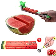 #LightningDeal Yueshico Stainless Steel Watermelon Slicer Cutter Knife Corer Fruit Vegetable Tools Kitchen Gadgets with Melon Baller Scoop Extra