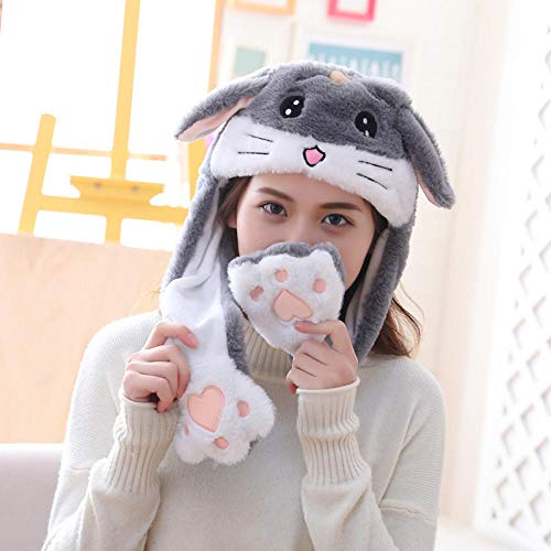 LKJH diersteek meisjes hoed winter vrouwen hoed pluche beweegbare hazenoren hoed kinderen pet grappig cadeau voor baby's