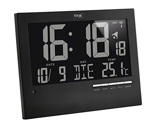 TFA Dostmann Digitale Funkuhr mit automatischer Hintergrundbeleuchtung, mit Innentemperatur, Datum, Wochentag, schwarz, 60.4508