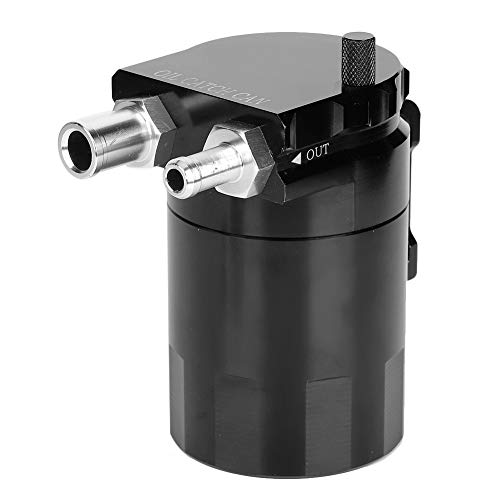 Qiilu Oil Catch Can, Kit universel de récupérateur d'huile 300ML Réservoir Réservoir Moteur Noir Polonais Alliage D'aluminium Baffled Noir