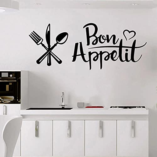 Kitchen Restaurant Wall Sticker Dinning Room Decoration French Decal Quote Appetit Vinyl Decals Spoon Flork Tableware Stickers 23x57cm